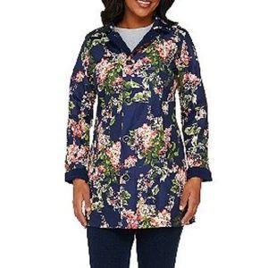 Isaac Mizrahi Floral Print Reversible Coat Sz M